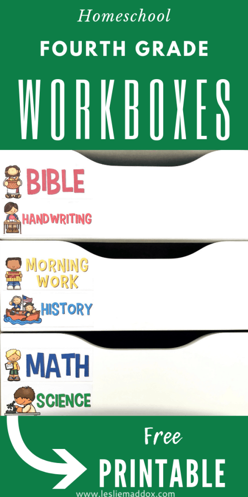 Homeschool Workboxes for Fourth Grade