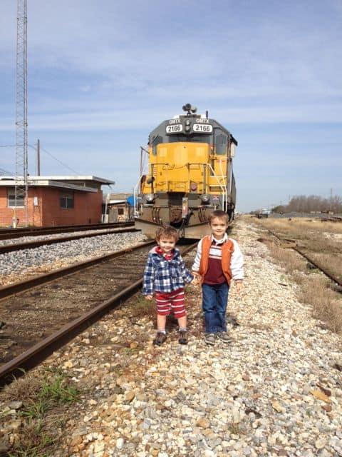 Michael and Cruz with Train