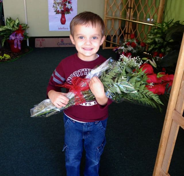 Michael with roses