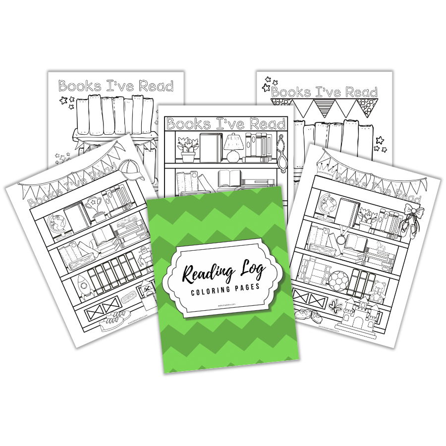 Pages in the coloring reading log printable.