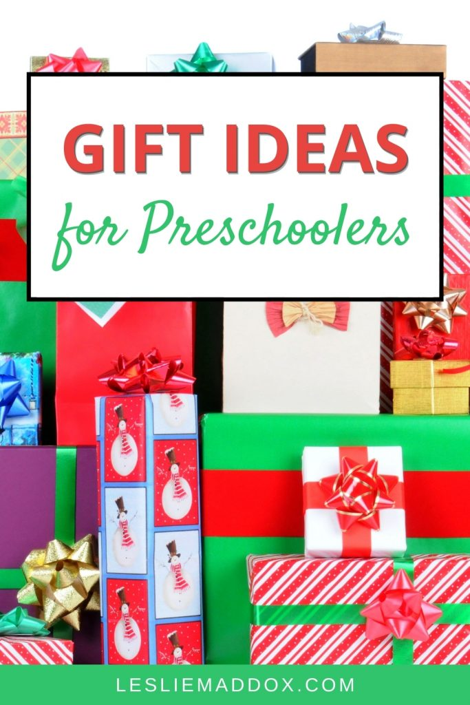 Christmas presents with text Gift Ideas for Preschoolers