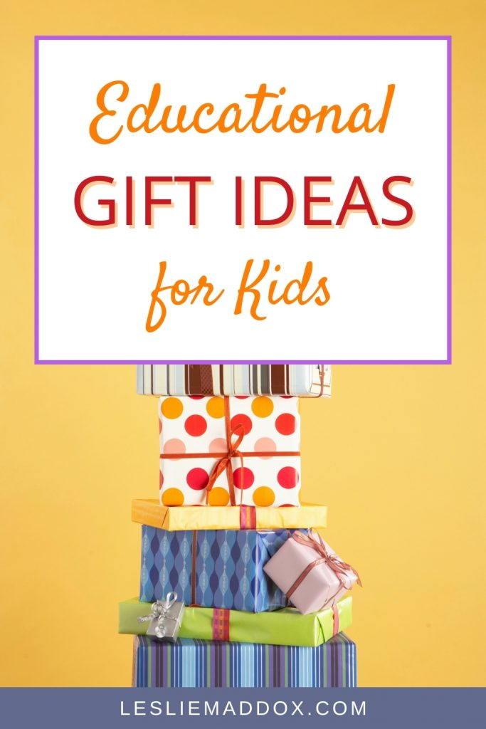 Wrapped presents on yellow background with text Educational Gift Ideas for Kids