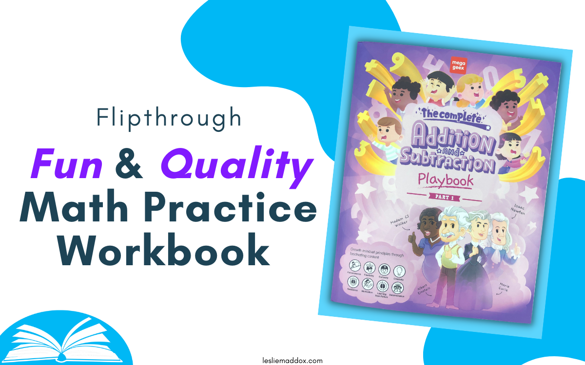 """Cover of MegaGeex Addition & Subtraction Playbook with Text """"Flipthrough - Fun & Quality Math Practice Workbook"""""""